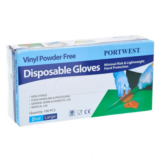 Gloves Vinyl Powder Free Blue 100 pcs ( L )