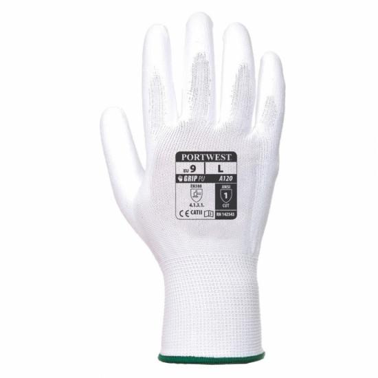 Nylon handschoen PU coating wit XL