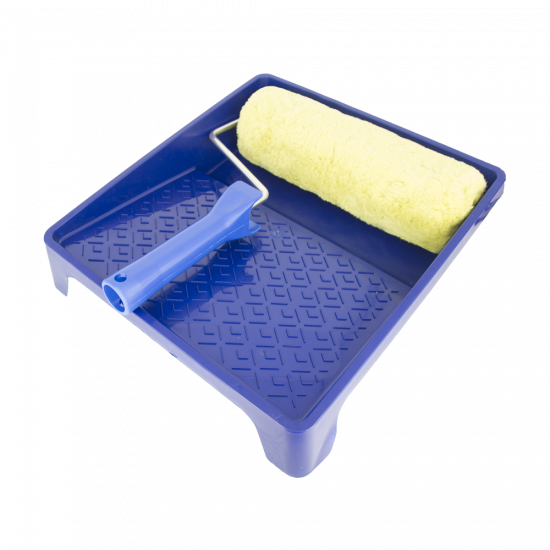 Paint set: paint tray / polyamide padded roller green + masonry brush 6""